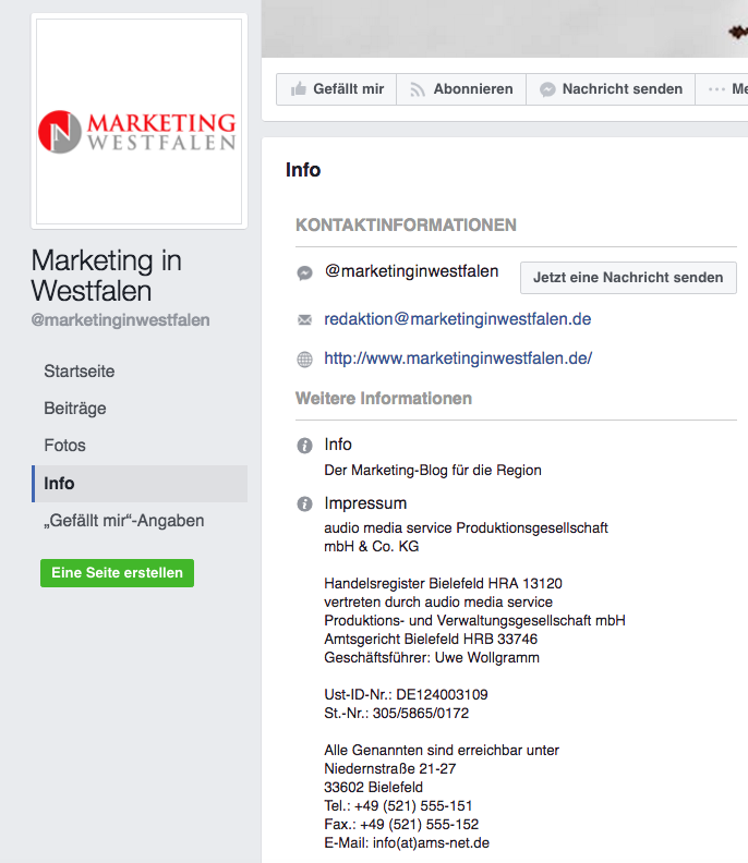 Screenshot des Impressums von Marketing in Westfalen bei Facebook