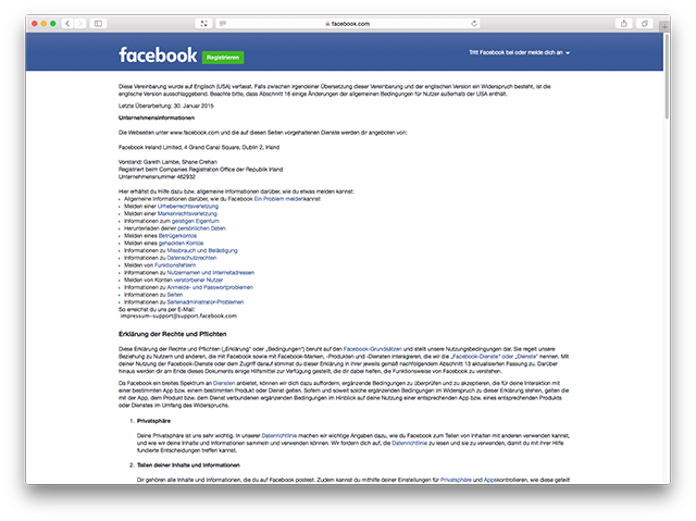 Screenshot Facebook-Impressum